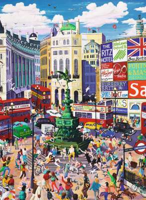 Piccadilly Circus, London (RB12725-2), a 200 piece jigsaw puzzle by Ravensburger. Click to view larger image.
