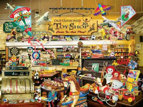 Old Fashioned Toy Shop (SUN34916), a 1000 piece jigsaw puzzle by Sunsout. Click to view larger image.