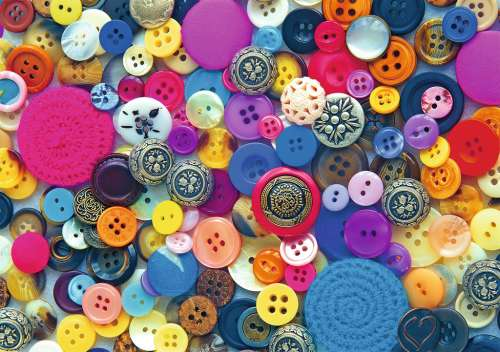 Buttons (Large Pieces) (RB14877-6), a 500 piece jigsaw puzzle by Ravensburger. Click to view larger image.