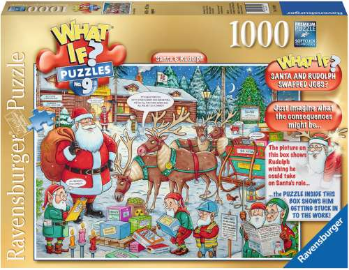 Santa & Rudolph (What If? #9) (RB19439-1), a 1000 piece jigsaw puzzle by Ravensburger. Click to view larger image.