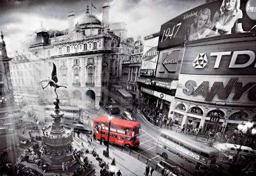 London Bus, Piccadilly Circus (Dented Box) (EDU15981-DENT), a 1000 piece jigsaw puzzle by Educa. Click to view larger image.
