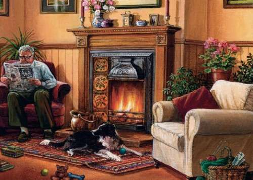 By The Fireplace (JUM11067), a 1000 piece jigsaw puzzle by Jumbo. Click to view larger image.