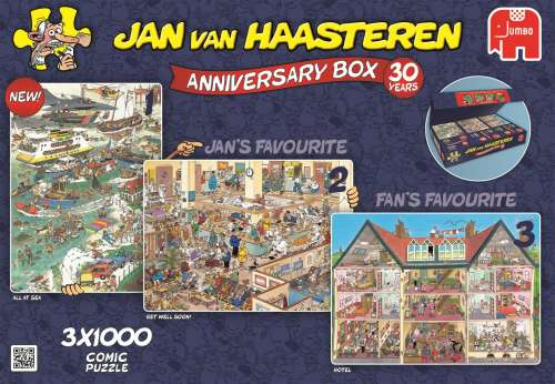 3-in-1 Jan van Haasteren Anniversary (JUM19000), a 1000 piece jigsaw puzzle by Jumbo. Click to view larger image.