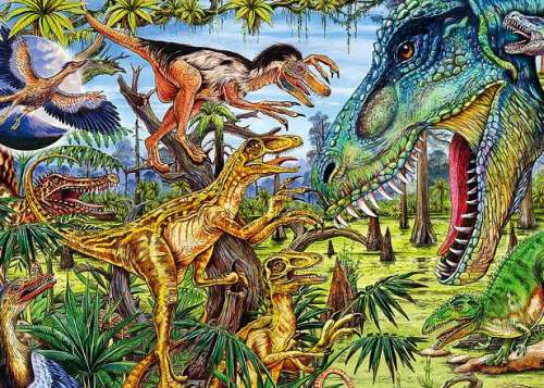Dinosaurs (Carnivores) (HEY29660), a 500 piece jigsaw puzzle by HEYE. Click to view larger image.