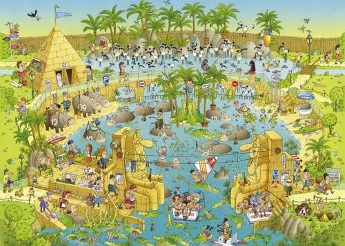 Nile Habitat (Funky Zoo) (HEY29693), a 1000 piece jigsaw puzzle by HEYE. Click to view larger image.