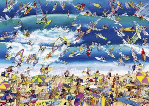 Surfing (HEY29703), a 1000 piece jigsaw puzzle by HEYE. Click to view larger image.