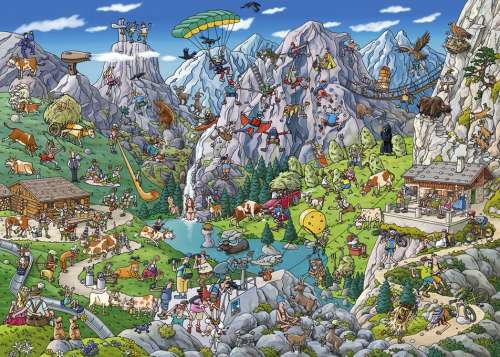 Alpine Fun (HEY29680), a 1000 piece jigsaw puzzle by HEYE. Click to view larger image.