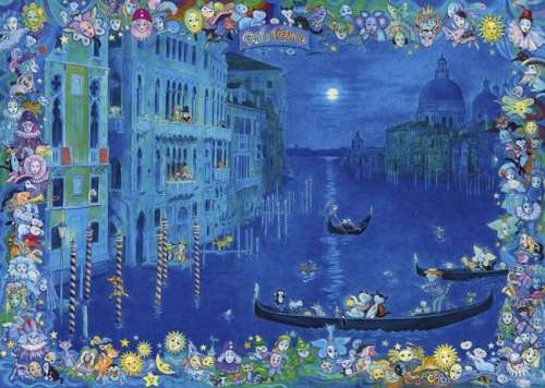 Cats in Venice (HEY29695), a 1000 piece jigsaw puzzle by HEYE. Click to view larger image.