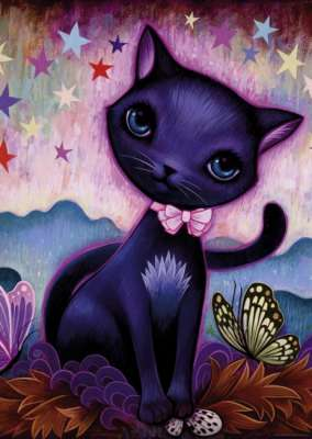 Black Kitty (Dreaming) (HEY29687), a 1000 piece jigsaw puzzle by HEYE. Click to view larger image.