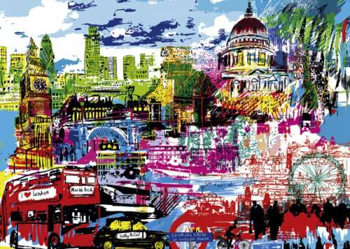 I Love London (City Life) (HEY29682), a 1000 piece jigsaw puzzle by HEYE. Click to view larger image.