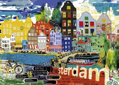 I Love Amsterdam (City Life) (HEY29683), a 1000 piece jigsaw puzzle by HEYE. Click to view larger image.