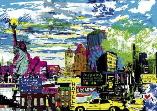 I Love New York (City Life) (HEY29681), a 1000 piece jigsaw puzzle by HEYE. Click to view larger image.