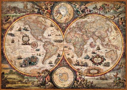 Vintage World Map (HEY29666), a 2000 piece jigsaw puzzle by HEYE. Click to view larger image.