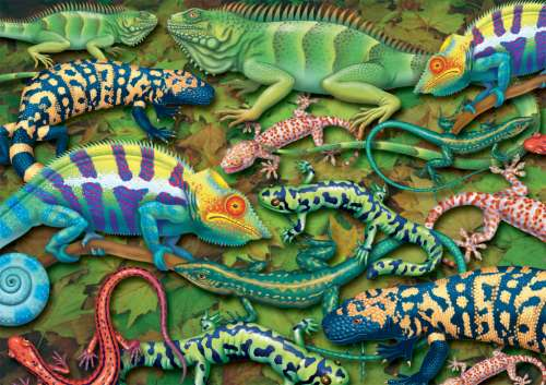 Geckos (PIA555343), a 1000 piece jigsaw puzzle by Piatnik. Click to view larger image.