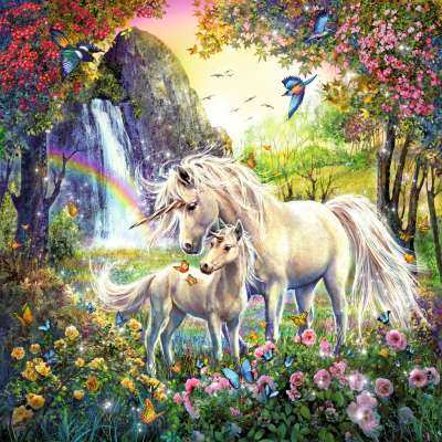 Beautiful Unicorns (3 x 49pc) (RB09291-8), a 49 piece jigsaw puzzle by Ravensburger. Click to view larger image.