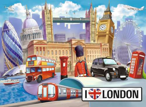 I Love London (RB10607-3), a 100 piece jigsaw puzzle by Ravensburger. Click to view larger image.