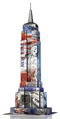 Empire State Building (Flag Edition) 3D Puzzle (RB12583-8), a 216 piece jigsaw puzzle by Ravensburger. Click to view larger image.