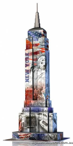 Empire State Building (Flag Edition) 3D Puzzle (RB12583-8), a 216 piece jigsaw puzzle by Ravensburger.