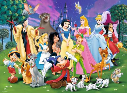 Disney Favourite Characters (RB12698-9), a 200 piece jigsaw puzzle by Ravensburger. Click to view larger image.