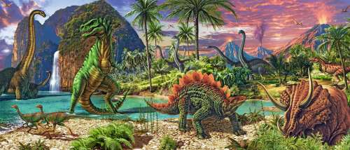 Land of the Dinosaurs (RB12747-4), a 200 piece jigsaw puzzle by Ravensburger. Click to view larger image.