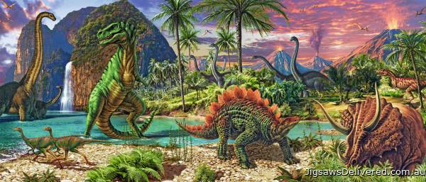 Land of the Dinosaurs (RB12747-4), a 200 piece jigsaw puzzle by Ravensburger.