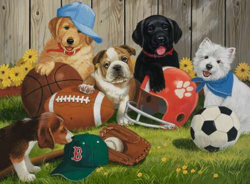 Let's Play Ball (RB12806-8), a 200 piece jigsaw puzzle by Ravensburger. Click to view larger image.