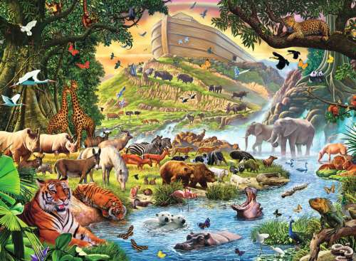 Noah's Ark (RB13185-3), a 300 piece jigsaw puzzle by Ravensburger. Click to view larger image.