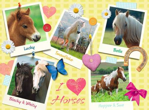 I Love Horses (RB13186-0), a 300 piece jigsaw puzzle by Ravensburger. Click to view larger image.