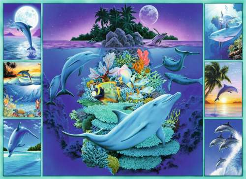 Dolphin Collage (RB13191-4), a 300 piece jigsaw puzzle by Ravensburger. Click to view larger image.