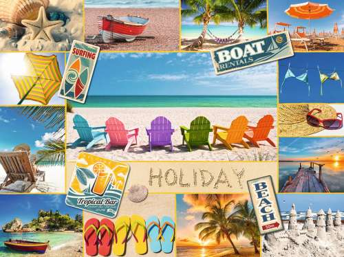 Beach Holiday Collage (RB16307-6), a 1500 piece jigsaw puzzle by Ravensburger. Click to view larger image.