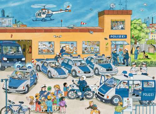 Police Station (RB10867-1), a 100 piece jigsaw puzzle by Ravensburger. Click to view larger image.