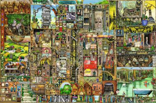 Bizarre Town (RB17430-0), a 5000 piece jigsaw puzzle by Ravensburger. Click to view larger image.