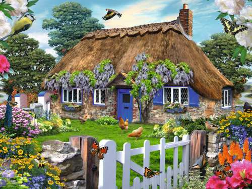 English Cottage (RB16297-0), a 1500 piece jigsaw puzzle by Ravensburger. Click to view larger image.