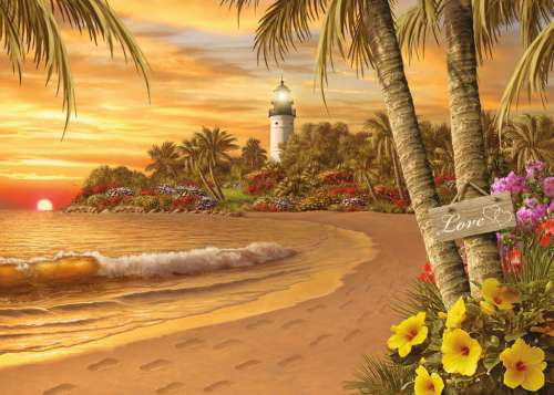Tropical Love (Large Pieces) (RB14887-5), a 500 piece jigsaw puzzle by Ravensburger. Click to view larger image.