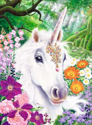 Gorgeous Unicorn ('Brilliant' edition w/ gems) (RB14850-9), a 500 piece jigsaw puzzle by Ravensburger. Click to view larger image.