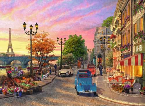 Evening in Paris (RB14505-8), a 500 piece jigsaw puzzle by Ravensburger. Click to view larger image.