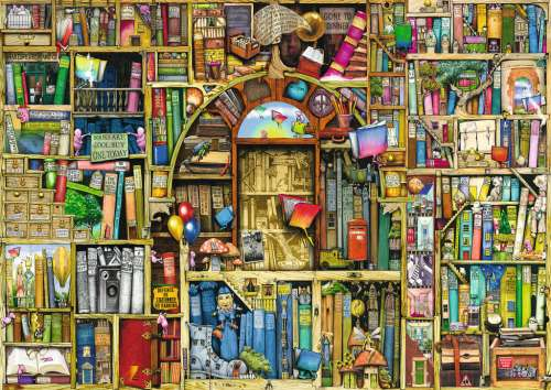 The Bizarre Bookshop 2 (RB19314-1), a 1000 piece jigsaw puzzle by Ravensburger. Click to view larger image.