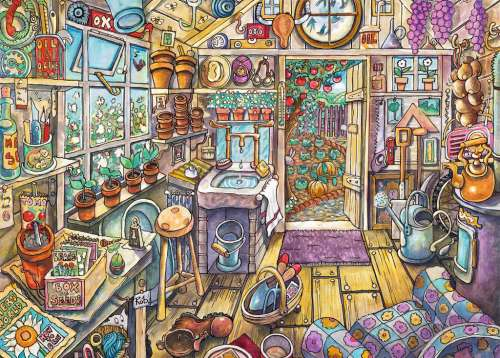 Cozy Potting Shed (Large Pieces) (RB13574-5), a 300 piece jigsaw puzzle by Ravensburger. Click to view larger image.