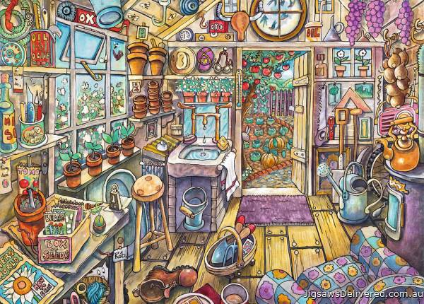 Cozy Potting Shed (Large Pieces) (RB13574-5), a 300 piece jigsaw puzzle by Ravensburger.