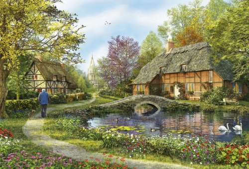 Meadow Cottage (EDU16356), a 5000 piece jigsaw puzzle by Educa. Click to view larger image.