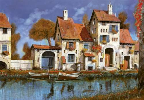 La Cascina Sul Lago, Italy (EDU16316), a 2000 piece jigsaw puzzle by Educa. Click to view larger image.