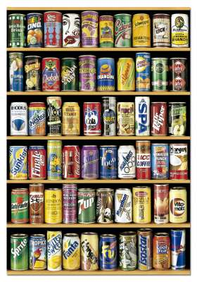 Soft Drink Cans (EDU14446), a 1500 piece jigsaw puzzle by Educa. Click to view larger image.