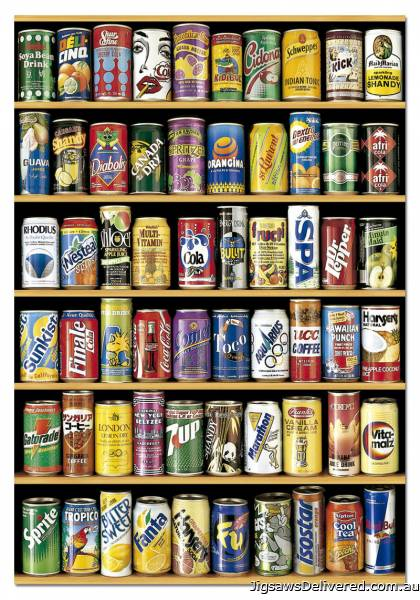 Soft Drink Cans (EDU14446), a 1500 piece jigsaw puzzle by Educa.