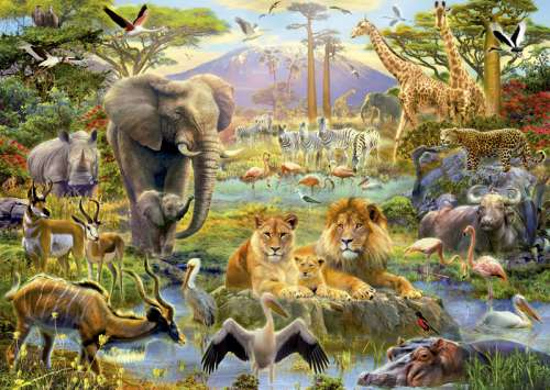African Watering Hole (EDU16303), a 1500 piece jigsaw puzzle by Educa. Click to view larger image.