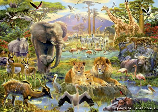 African Watering Hole (EDU16303), a 1500 piece jigsaw puzzle by Educa.