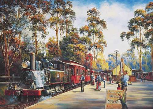 Puffing Billy All Aboard (Early Settlers) (HOL095964), a 1000 piece jigsaw puzzle by Holdson. Click to view larger image.