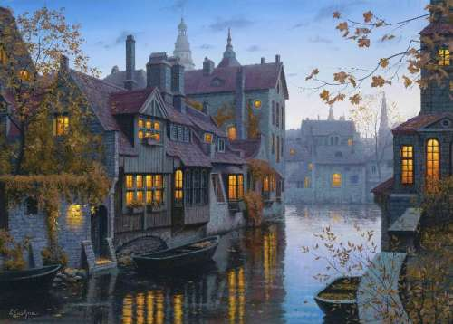 Brugge (Twilight Memories) (HOL095834), a 1000 piece jigsaw puzzle by Holdson. Click to view larger image.