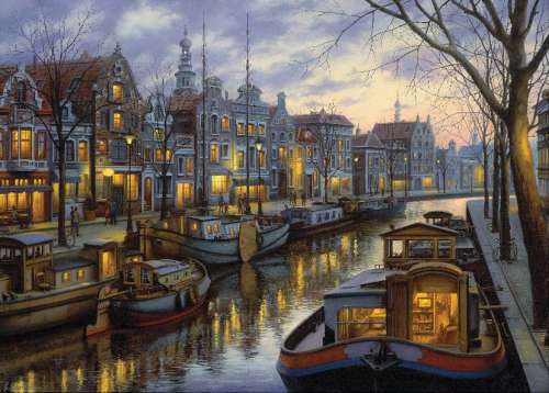 Amsterdam (Twilight Memories) (HOL095858), a 1000 piece jigsaw puzzle by Holdson. Click to view larger image.
