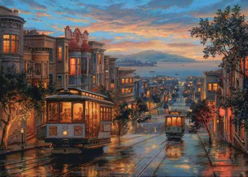 San Francisco (Twilight Memories) (HOL095841), a 1000 piece jigsaw puzzle by Holdson. Click to view larger image.
