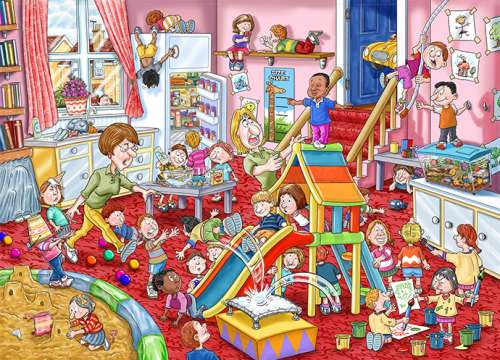 Childcare (Mystery Wasgij #11) (HOL96220), a 1000 piece jigsaw puzzle by Holdson. Click to view larger image.
